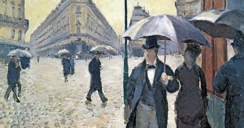 """Gustave Caillebotte, """"Rua de Paris em tempos de chuva""""."""