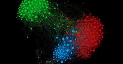 Grafo com clusters destacados.