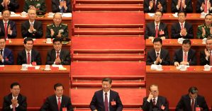 O presidente Xi Jinping (ao centro) durante o 19º Congresso do PC chinês - Reuters