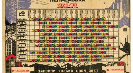 """Calendário para 1929-1930 mostrando dias de repouso para cada um dos cinco grupos de trabalhadores, designados aqui por diferentes cores. Nesta versão da nepreryvka, a semana de trabalho contínua, os trabalhadores tiveram todos os quinto dias de folga. O texto no final lê: """"Apenas lembre-se de sua cor e você sempre saberá seu dia de descanso"""". Os cinco dias com estrelas vermelhas indicam feriados oficiais em que ninguém trabalhou. Cortesia de Erast Butakov."""