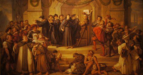 A afixação das 95 Teses de Lutero, Julius Hübner, 1878.