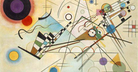 """Wassily Kadinsky, 1923 – composição 8, """"huile sur toile"""", Mudeu Guggenheim, Nova Iorque"""