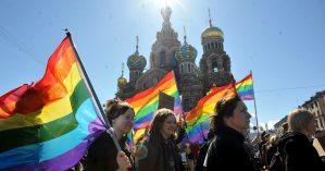 Protesto LGBT em São Petersburgo, 1 de maio de 2013. Crédito: Olga Maltseva/AFP/Getty Images