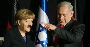 O primeiro ministro israelense Benjamin Netanyahu, que conta com a anuência das potências globais, como a da chanceler alemã Angela Merkel, ao lado. - Reprodução