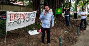 O secretário de Relações Internacionais do PSOL, Israel Dutra, em ato em São Paulo - Reprodução