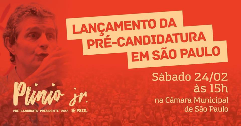 Plinio Jr. lança sua pré-candidatura em São Paulo.