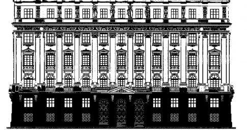 Desenho do antigo Palácio de Justiça, no Rio de Janeiro -Reprodução
