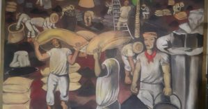 Painel da sede do sindicato ilustra o cotidiano dos trabalhadores ali representados