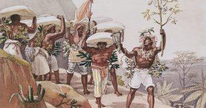 "Jean-Baptiste Debret, ""Escravos carregando café"", 1826."