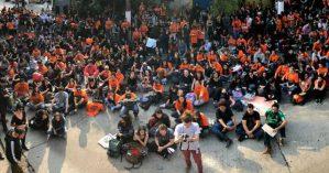 Professores de escolas particulares de São Paulo em assembleia por paralisação - GABRIELA BUENO ZIEBERT/DIVULGAÇÃO/SINPRO-SP