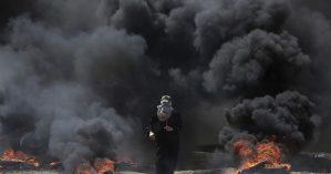 Palestina durante manifestações em Gaza no último dia 14 - Khalil Hamra