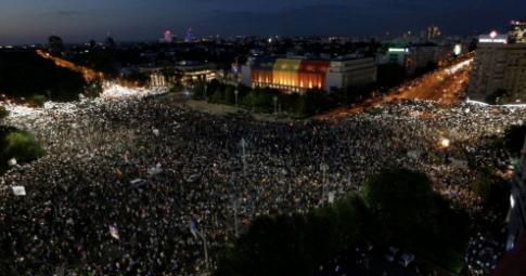 Manifestação na cidade de Bucareste no último dia 10 - Reprodução