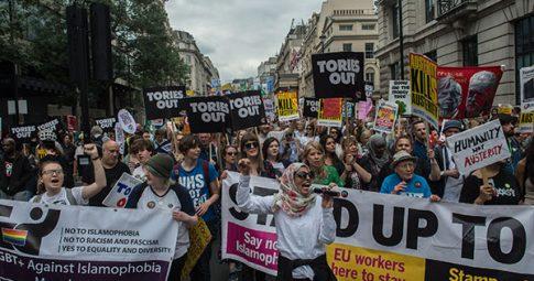 Protesto contra os conservadores no ano passado. Foto: Guy Smallman