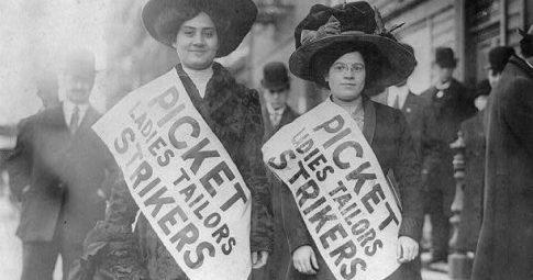 Grevistas em Nova York em 1909 - Reprodução